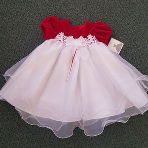 Rare Editions Girls 24 mos Red/White Dress Holiday